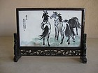 Chinese Stone and Wood Table Screen with Painted Horses