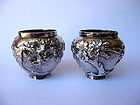 Japanese Pair of Miniature Silver Bowls, Marked
