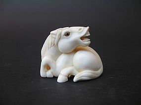 Japanese Ivory Netsuke of a Resting Horse with Rantei Mark