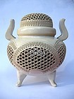 Japanese Earthenware Reticulated Lidded Censer, Signed