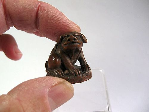 Chinese Wooden Foo Dog Seal, Calligraphy