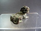 Chinese Ming Period Bronze Scroll Weight of a Mythical Beast