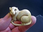 Japanese Ivory Rat Netsuke, Signed Tomokazu