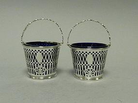 Pair English Sterling Cream Pails