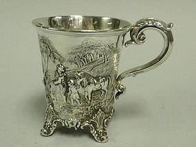 English London Sterling Silver Hunt Mug Victorian 1841