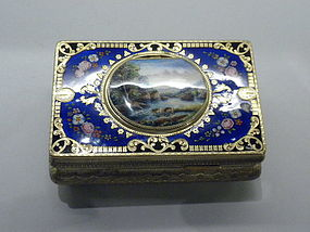 Enamel and Gilt Bird Music Box Swiss Circa 1920