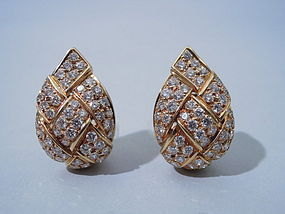 French 18k Diamond Basket Weave Earrings, Circa 1970