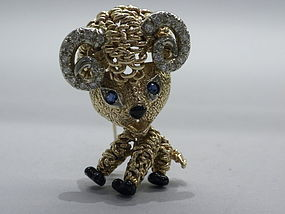 Van Cleef & Arpels Diamond Sapphire and Gold Ram Brooch