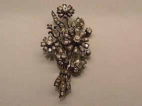 Victorian Rose Cut  Diamond Floral Brooch Circa 1850