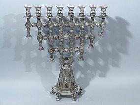 Sterling Silver Menorah Israel Circa 1960