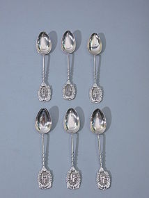Antique Chinese Silver Set of Coffee Spoons Circa 1890