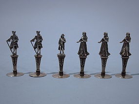 6 French Empire Style Silver Gilt  Place Card Holders