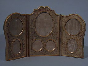 French Gilt-Bronze Triptych Picture Frame C 1900