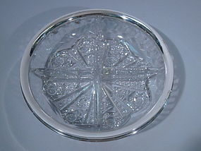 Wilcox American Sterling Silver Cut Glass Bowl C 1910