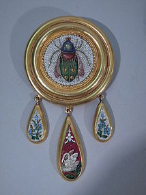 Italian 18 Kt Gold and Micromosaic Brooch C 1890