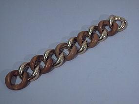 Seaman Schepps 14 Kt Gold and Wood Chain Bracelet