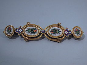 Italian Micromosaic and 18 Kt Gold Bar Brooch C 1875