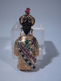 Italian Blackamoor Gold and Jeweled Brooch C 1950