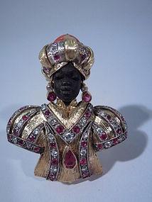 Italian Blackamoor Gold and Jeweled Brooch C 1950