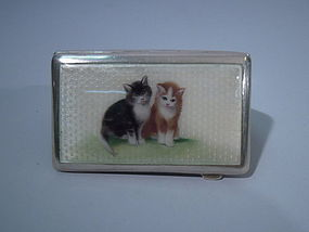 Austrian 800 Silver Enamel Cigarette Case with Cats