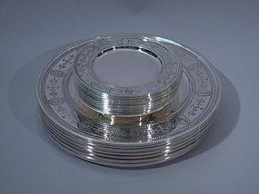 24 Tiffany Adams Sterling Silver Dinner Service Plates