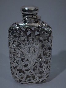 J E Caldwell Glass Flask with Silver Overlay C 1890
