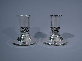Pair of Georg Jensen-Style Candlesticks by La Paglia