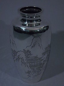Antique Japanese Silver Vase with Landscape