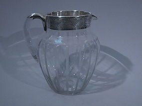 Clear Glass Silver Overlay Water Pitcher C 1920
