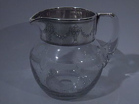 Silver Overlay Neoclassical Water Pitcher C 1915
