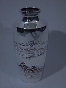 Large Japanese Silver Vase with Landscapes C 1910