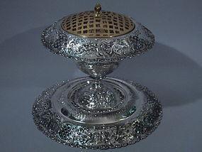 Shreve Sterling Silver Centerpiece Vase on Plateau