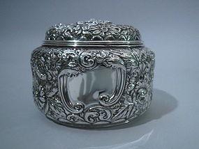 Gorham Sterling Silver Repousse Powder Box 1895