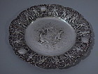 German Silver Rococo Serving Plate C 1900