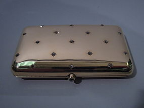 Antique Cigarette Case 14 Kt Gold and Diamonds C 1920