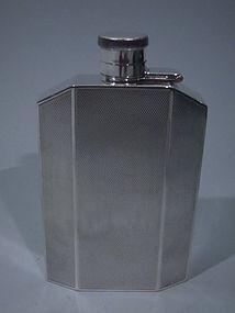 George VI Art Deco Sterling Silver Hip Flask 1939