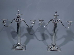 Pair of Neoclassical Sterling Silver Candelabra  C 1900