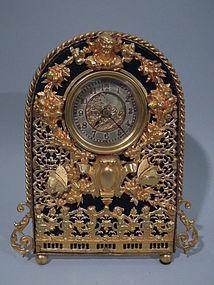 Art Nouveau Gilt Bronze Clock with Butterflies  C 1900