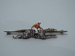 English Enamel Jockey and Diamond Horse Bar Pin C 1880