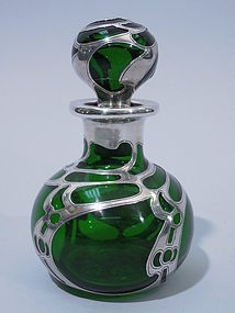 Gorham Art Nouveau Silver Overlay Perfume Bottle