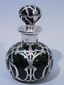Gorham Silver Overlay Emerald Glass Perfume Bottle