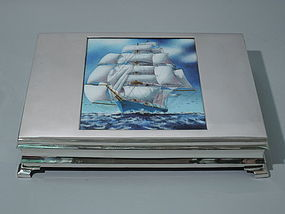 Large Sterling Silver Box with Enamel Nautical Scene