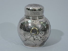 Tiffany Mixed Metal & Hammered Tea Caddy C 1881