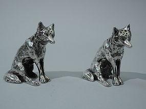 Fox Salt & Pepper Shakers - German Silver C 1910