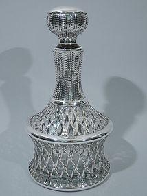 Japanese Decanter Silver Overlay - Basket Motif C 1920