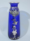 Large Cobalt Glass Vase with Silver Overlay C 1910