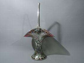 Art Nouveau Basket  - Iridescent Art Glass Glass Silver Overlay