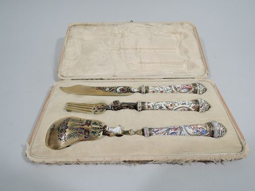 Italian Renaissance Revival Enamel Serving Set C 1860