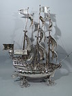Very Large Nef - Sterling Silver 3-Mast Warship C 1903