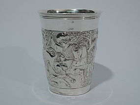 German Silver Cup with Exotic Hunt Scene C 1900